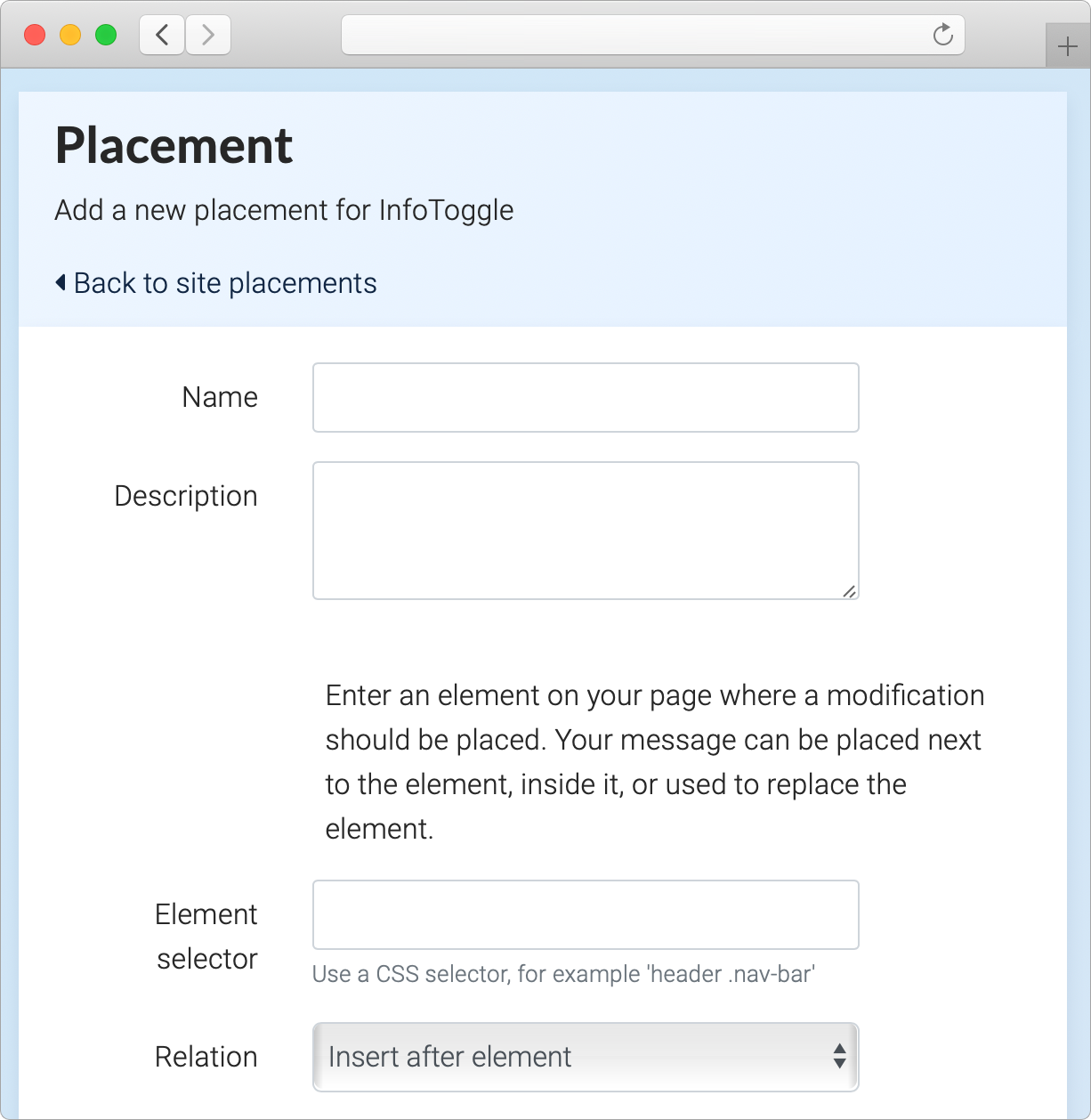 Placement settings window displaying name, description, element         selector, and relation settings.