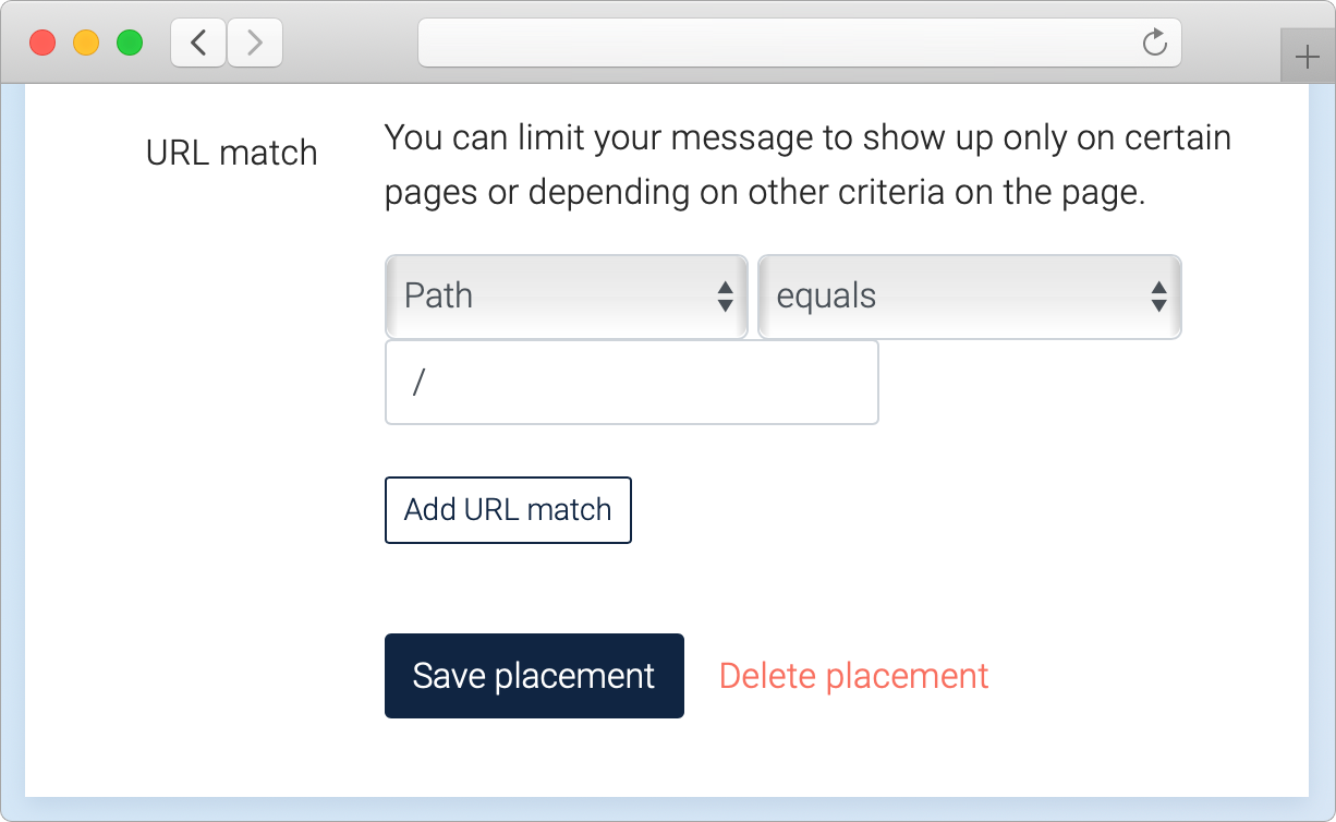 Placement URL Match settings window